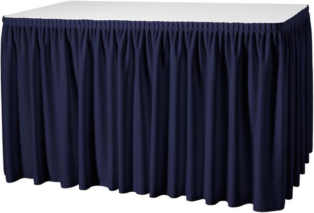 Dena Tischskirting Plissé blau inklusive Skirtingbügel dunkel 410 x 73 cm