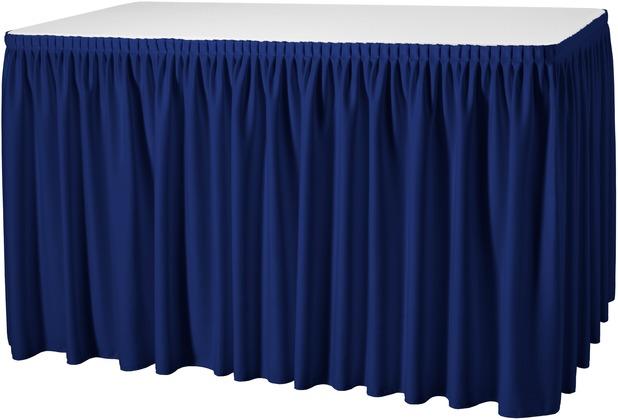 Dena Tischskirting Plissé blau inklusive Skirtingbügel hell 410 x 73 cm