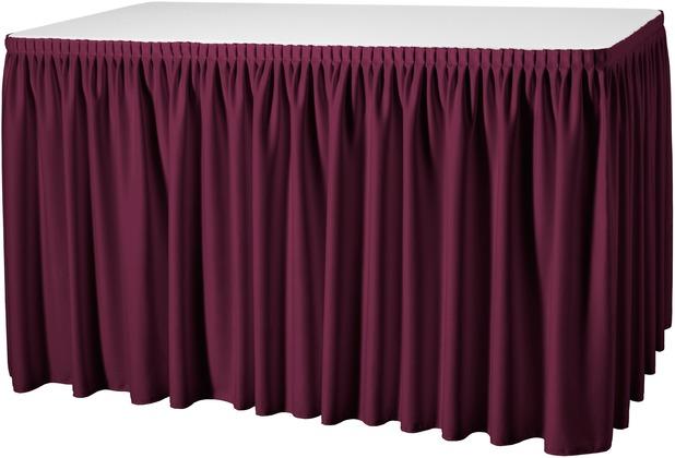 Dena Tischskirting Plissé rot inklusive Skirtingbügel dunkel 410 x 73 cm