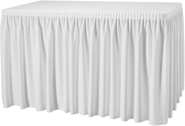 Dena Tischskirting Plissé 410 x 73 cm, weiß inklusive Skirtingbügel
