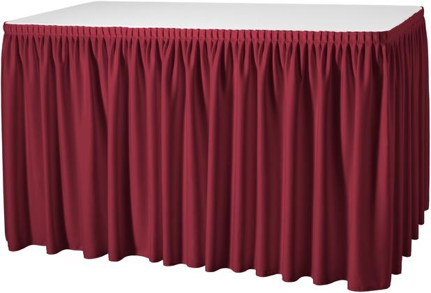 Dena Tischskirting Plissé 490 x 73 cm, rot inklusive Skirtingbügel hell
