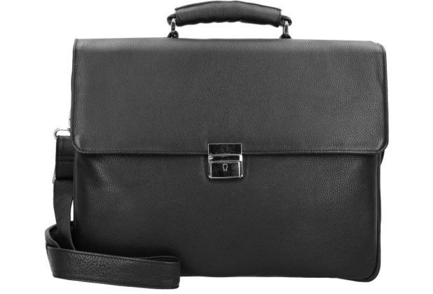 Dermata Aktentasche Leder 39 cm Laptopfach schwarz