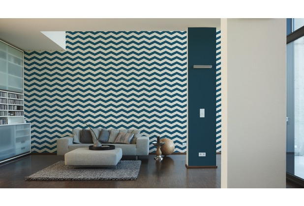 Designdschungel grafische Mustertapete blau metallic weiß 10,05 m x 0,53 m