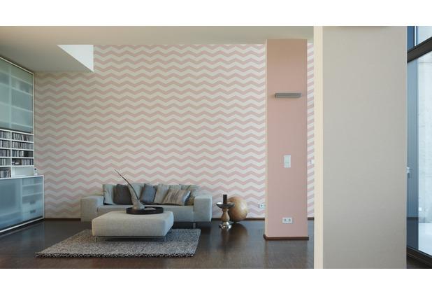 Designdschungel grafische Mustertapete rosa weiß 10,05 m x 0,53 m