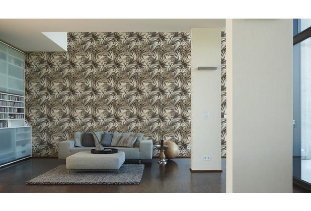 Designdschungel moderne Mustertapete mit Palmenprint beige braun weiß 10,05 m x 0,53 m