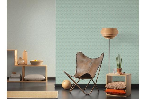Designdschungel Vliestapete Tapete im skandinavischen Design metallic blau grün 10,05 m x 0,53 m