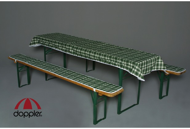 doppler Bankauflagen-Set D. 114 Karo bl. PK 2 Aufl. ca. 220x25 cm +Tischt. ca. 260x120 cm