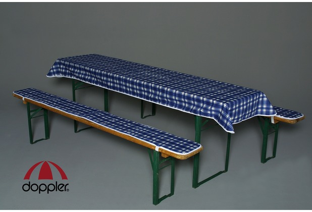 doppler Bankauflagen-Set D. 116 Karo gn. PK 2 Aufl. ca. 220x25 cm +Tischt. ca. 260x120 cm