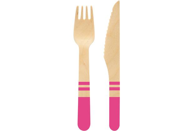 Duni Besteckset Birke Holz/ Pink ca. 160 mm 20er