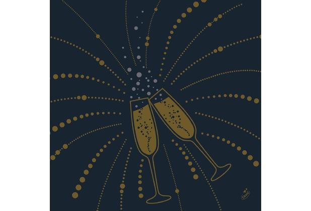 Duni Dunilin-Servietten Festive Cheers Black 40 x 40 cm 1/4 Falz 50 Stück