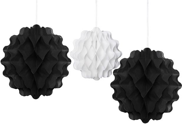 Duni Wabenbälle schwarz & weiß 20 & 15 cm, 3 Stück