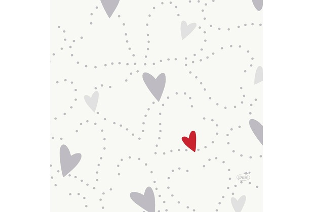 Duni Zelltuch-Servietten Love 33x33 cm 3lagig, 1/4 Falz 50 Stück