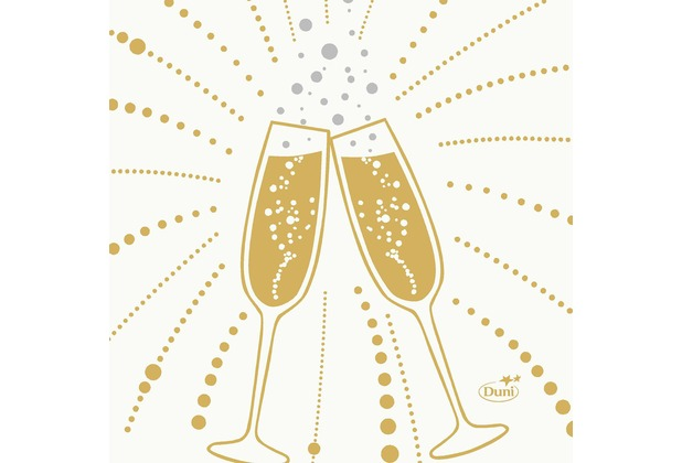 Duni Zelltuchservietten Festive Cheers White 24 x 24 cm 3-lagig 1/4 Falz 50 Stück