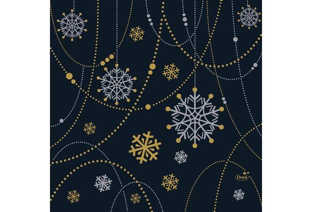 Duni Zelltuchservietten Snowflake Necklace black 34 x 33 cm 3-lagig 1/4 Falz 250 Stück