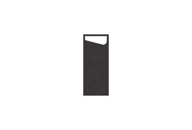 Duni Sacchetto Serviettentasche schwarz, 11,5 x 23 cm, Dunisoft Serviette weiß, 60 Stück