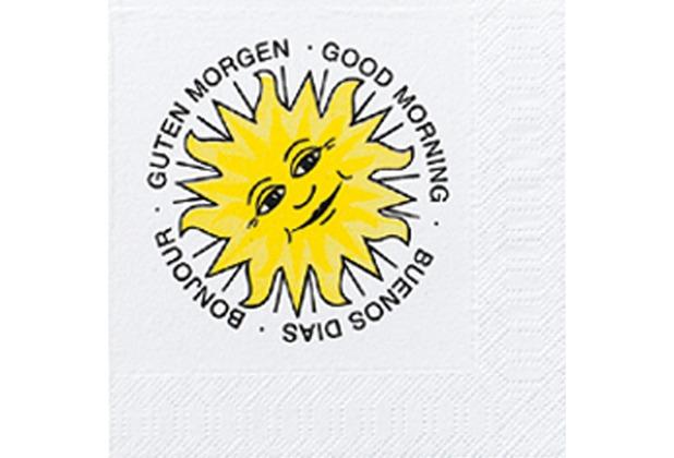 Duni Cocktail-Servietten 3lagig Zelltuch Motiv Good Morning, 24 x 24 cm, 250 Stück