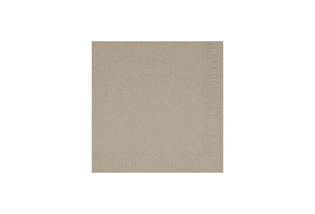 Duni Servietten 3lagig aus Zelltuch Uni greige, 33 x 33 cm, 1/4 Falz, 250 Stück