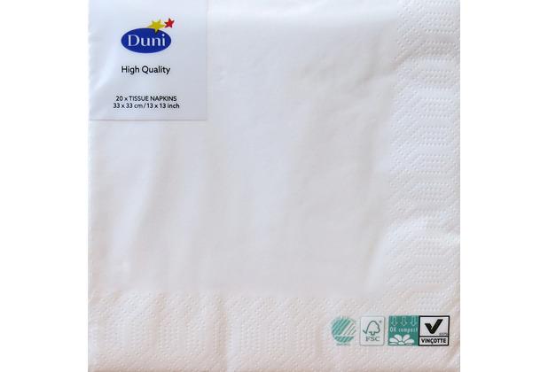 Duni Servietten 3lagig Tissue Uni weiß, 33 x 33 cm, 20 Stück