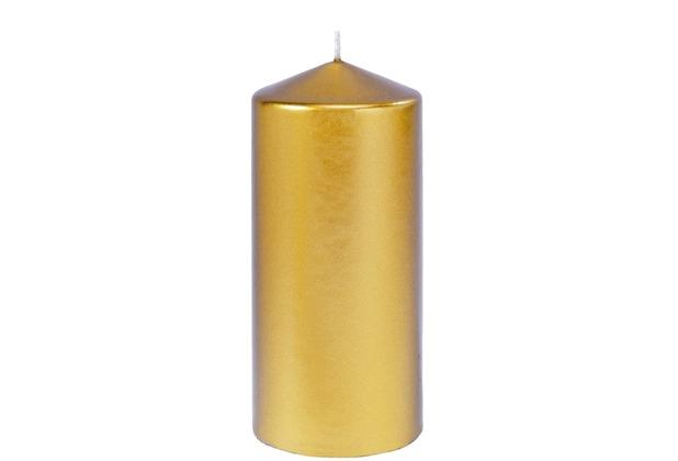 Duni Stumpenkerze Velvet gold, glänzend, 150x70mm, 6 Stück