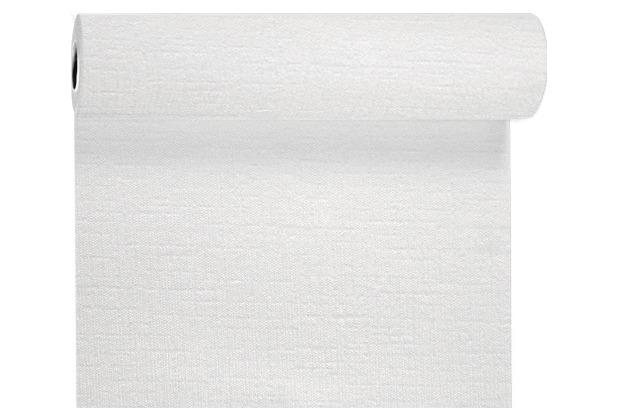 Duni Tête-à-Tête-Tischläufer aus Evolin alle 1,20 m lang perforiert, Uni weiß, 41 x 2400 cm
