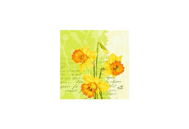 Duni Zelltuch Servietten Spring Flowers 24x24 cm 3lagig, 1/4 Falz 50 Stück