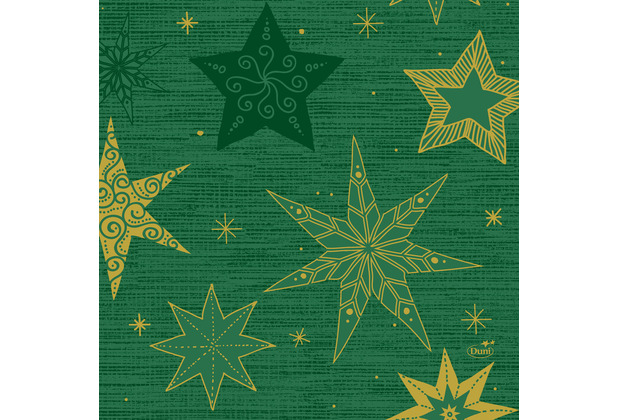 Duni Zelltuchservietten 33 x 33 cm Star Stories Green