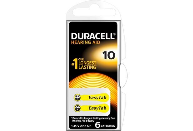 Duracell Batterie Zinc Air - Hearing Aid - 10 - 1.4V Easy Tab - (6-Pack)