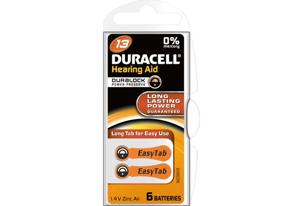 Duracell Batterie Zinc Air, Hearing Aid, 13, 1.4V Easy Tab, Retail Blister (6-Pack)