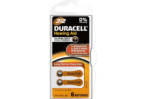 Duracell Batterie Zinc Air, Hearing Aid, 312, 1.4V Easy Tab, Retail Blister (6-Pack)