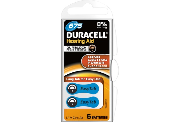 Duracell Batterie Zinc Air, Hearing Aid, 675, 1.4V Easy Tab, Retail Blister (6-Pack)
