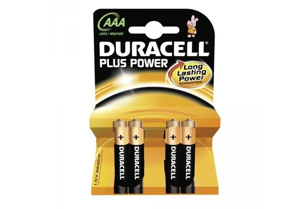 Duracell Battery Alkaline AAA 4er Plus Power