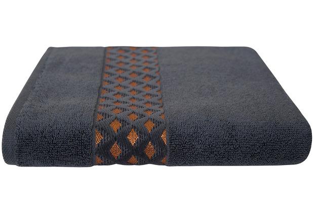 Dyckhoff Frottierserie Pure Elegance graphit mit Bordüre Handtuch 50 x 100 cm, 6 Stück