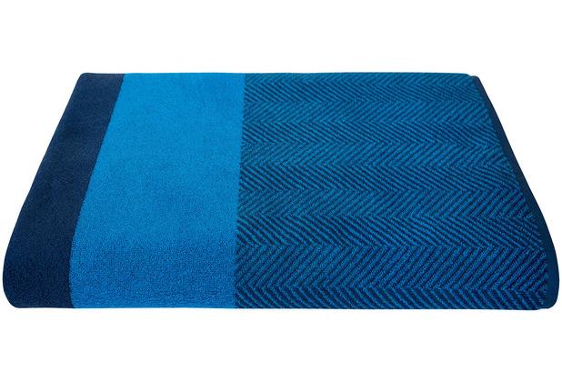 Dyckhoff Saunatuch Two-Tone Stripe blau Saunatuch 100 x 200 cm