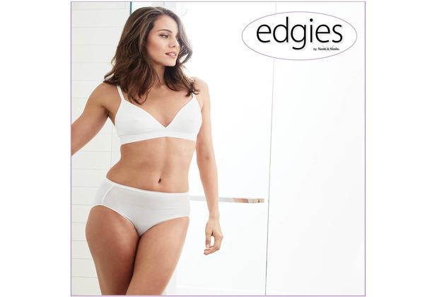 Edgies Daywear Slip Unterhose Slip Lasercut slip Microfaser Unsichtbares Höschen mit Silikonabschluss Weiß L (42)
