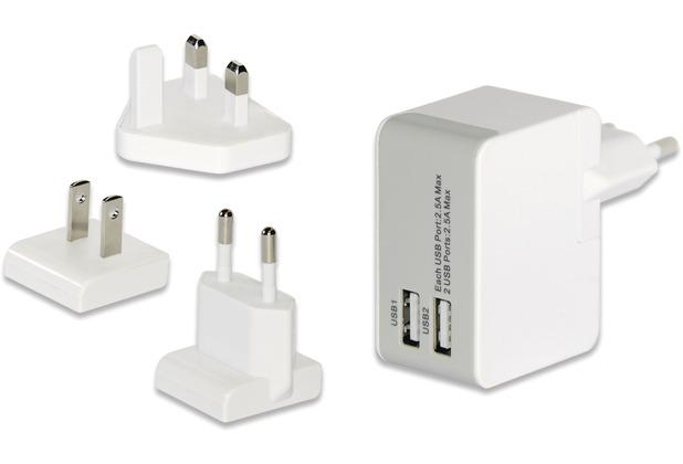 ednet Universelles Reise-Ladegerät (EU/UK/US), 2x USB-Ports, weiss