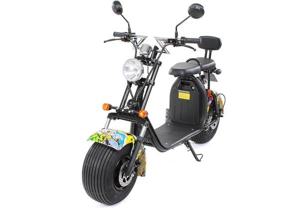 eFlux Chopper Two Elektro Scooter gelb mit Straßenzulassung, 1500 Watt 60 Volt