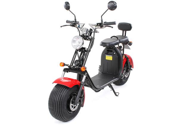 eFlux Chopper Two Elektro Scooter rot mit Straßenzulassung, 1500 Watt 60 Volt