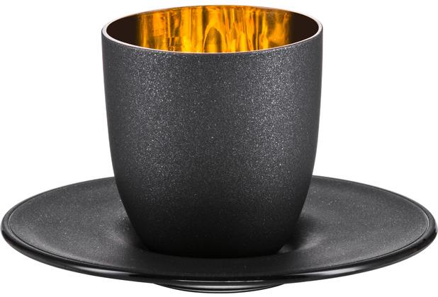 Eisch Cosmo gold Espresso 109/6 mit Untersetzer in Geschenkröhre