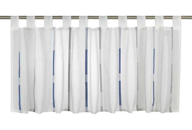 Elbersdrucke Bistrogardine Calypso 01 weiß-blau-grau 140 x 48 cm