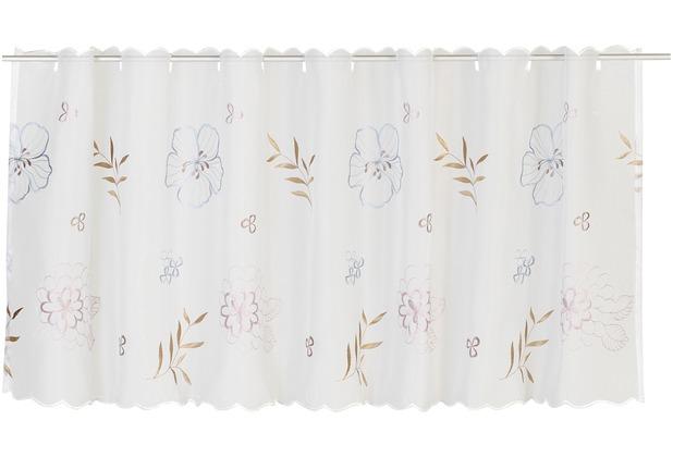 Elbersdrucke Bistrogardine Javine 01 weiß-hellblau-rosé 150 x 48 cm