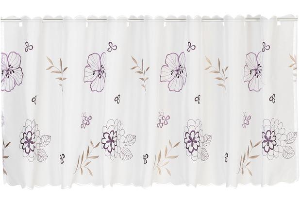 Elbersdrucke Bistrogardine Javine 10 weiß-violett-brombeer 150 x 48 cm