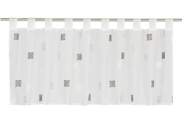 Elbersdrucke Bistrogardine Quadro 07 offwhite-grau 140 x 48 cm