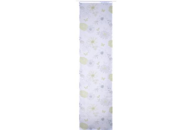 Elbersdrucke Flächenvorhang Flower Mix 03 weiß-grün-blau 60 x 245 cm ohne Paneelwagen