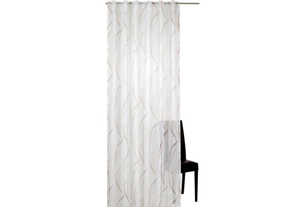 Elbersdrucke Schlaufenbandschal Havanna 06 weiß-braun 140 x 255 cm