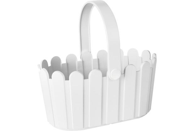 emsa Blumenkübel LANDHAUS Körbchen, Weiß, 28 x 18 cm