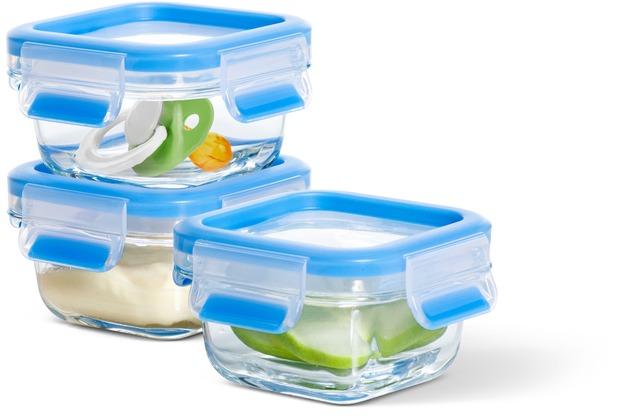 emsa Frischhaltedose CLIP & CLOSE Glas Baby 3er Set, 3x 0,20 Liter