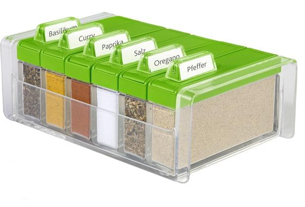 emsa Gewürzregal SPICE BOX Gewürz-Kartei mit 6 Gewürzen, Grün, 0,075 Liter
