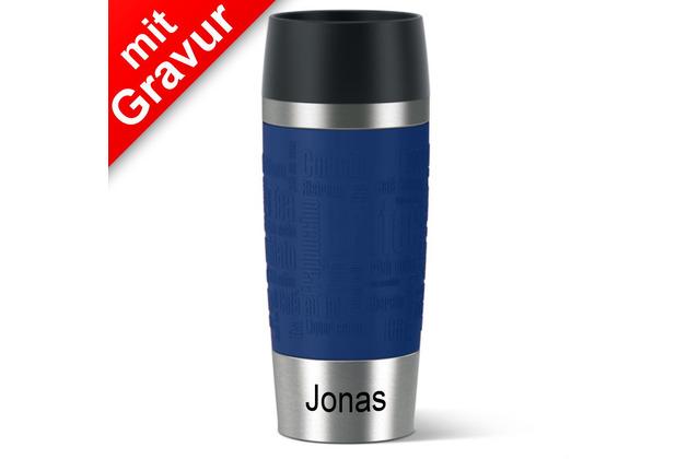 emsa Isolierbecher MIT GRAVUR (z.B. Name Jonas) TRAVEL MUG Manschette blau 360ml Geschenke mit Namen