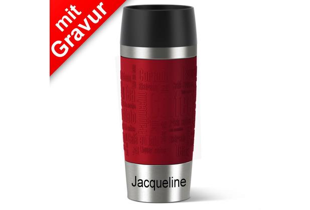 emsa Isolierbecher MIT GRAVUR (z.B. Name Jacqueline) TRAVEL MUG Manschette rot 360ml Geschenke mit Namen