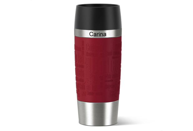 emsa Isolierbecher MIT GRAVUR - OBEN - (z.B. Namen) TRAVEL MUG Manschette rot 360ml